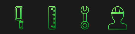 Set line Wrench spanner, Hacksaw, Ruler and Worker safety helmet. Gradient color icons. Vector