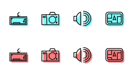 Set line Speaker volume, Keyboard, Photo camera and Gps device with map icon. Vector