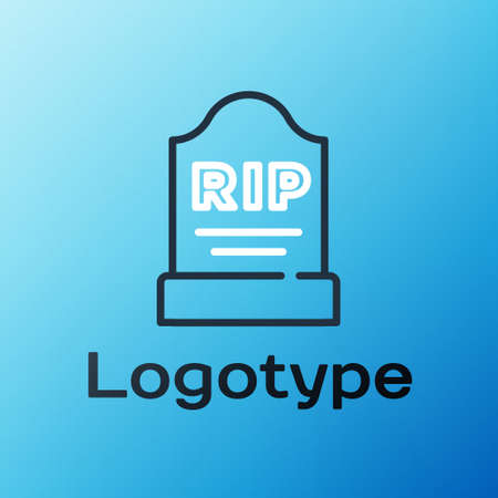 Line Tombstone with RIP written on it icon isolated on blue background. Grave icon. Colorful outline concept. Vector  イラスト・ベクター素材