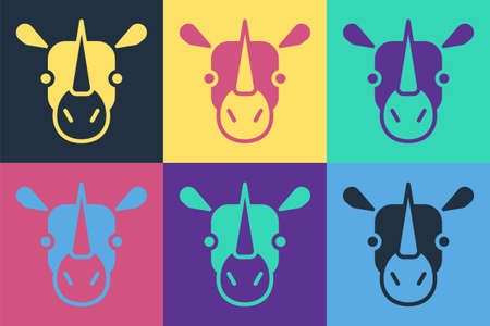 Pop art Rhinoceros icon isolated on color background. Animal symbol. Vector
