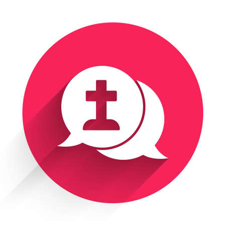 White Man graves funeral sorrow icon isolated with long shadow. The emotion of grief, sadness, sorrow, death. Red circle button. Vector