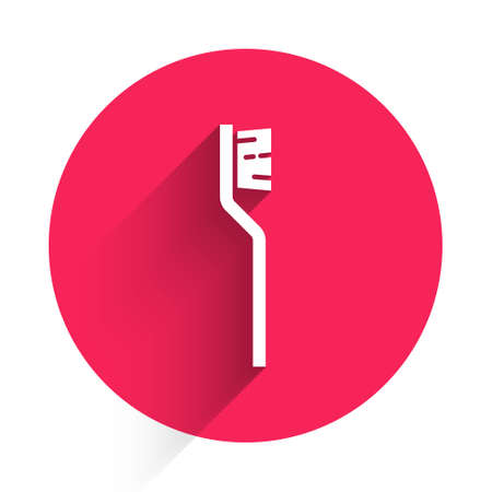 White Toothbrush icon isolated with long shadow. Red circle button. Vector 向量圖像