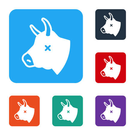 White Cow head icon isolated on white background. Set icons in color square buttons. Vector