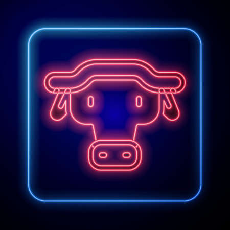Glowing neon African buffalo head icon isolated on blue background. Mascot, african savanna animal. Wild ox, carabao or bison bull with fused horns. Vector