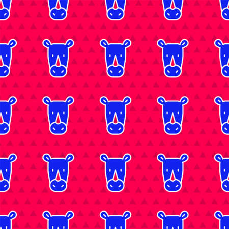 Blue Rhinoceros icon isolated seamless pattern on red background. Animal symbol. Vector