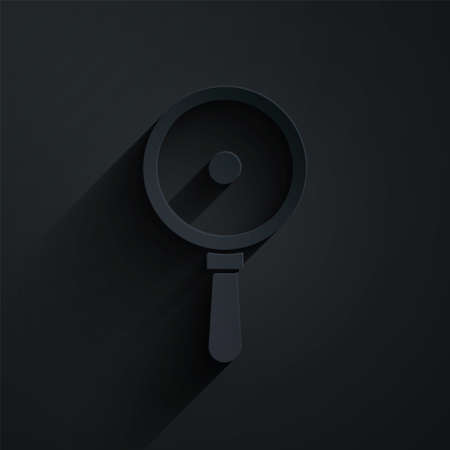 Paper cut Frying pan icon isolated on black background. Fry or roast food symbol. Paper art style. Vector