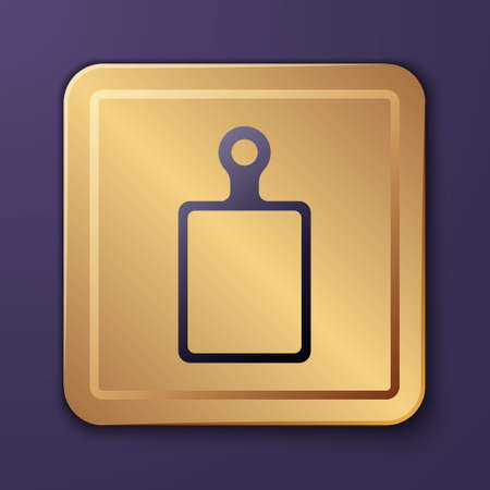 Purple Cutting board icon isolated on purple background. Chopping Board symbol. Gold square button. Vector