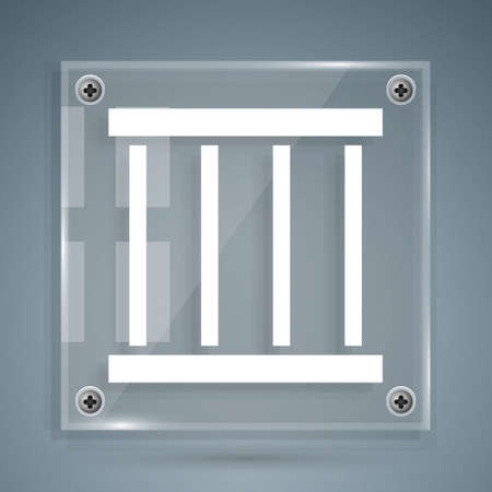 White Prison window icon isolated on grey background. Square glass panels. Vector Ilustracja