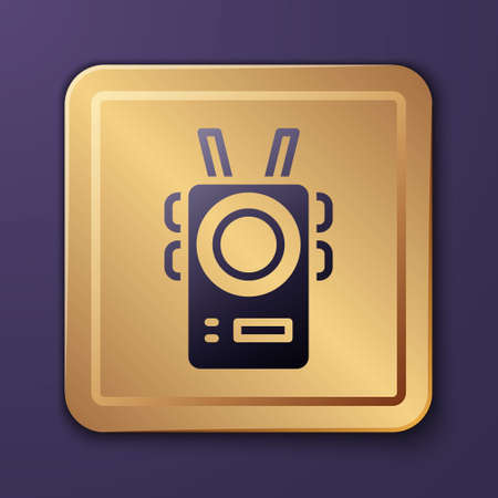 Purple Police body camera icon isolated on purple background. Gold square button. Vector