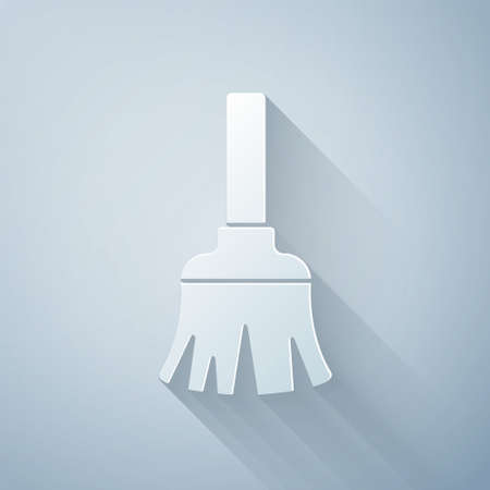 Paper cut Feather broom for cleaning icon isolated on grey background. Feather duster. Paper art style. Vector Illustration
