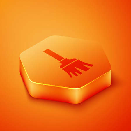 Isometric Feather broom for cleaning icon isolated on orange background. Feather duster. Orange hexagon button. Vector