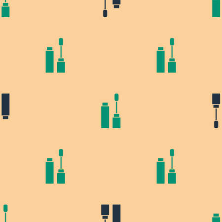 Green and black Mascara brush icon isolated seamless pattern on beige background. Vector