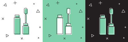 Set Mascara brush icon isolated on white and green, black background. Vector