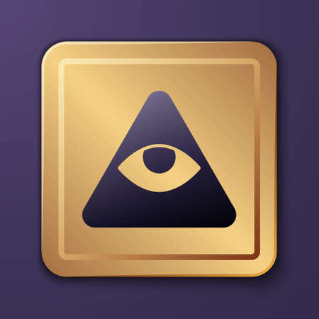 Purple Masons symbol All-seeing eye of God icon isolated on purple background. The eye of Providence in the triangle. Gold square button. Vector