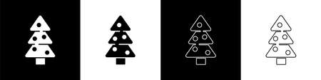 Set Christmas tree with decorations icon isolated on black and white background. Merry Christmas and Happy New Year. Vector