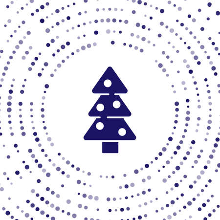 Blue Christmas tree with decorations icon isolated on white background. Merry Christmas and Happy New Year. Abstract circle random dots. Vector