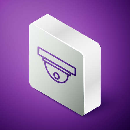 Isometric line Motion sensor icon isolated on purple background. Silver square button. Vector Illustration