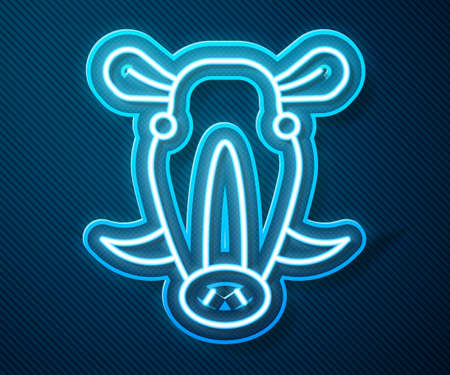 Glowing neon line Wild boar head icon isolated on blue background. Animal symbol. Vector