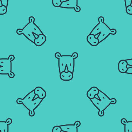 Black line Rhinoceros icon isolated seamless pattern on green background. Animal symbol. Vector