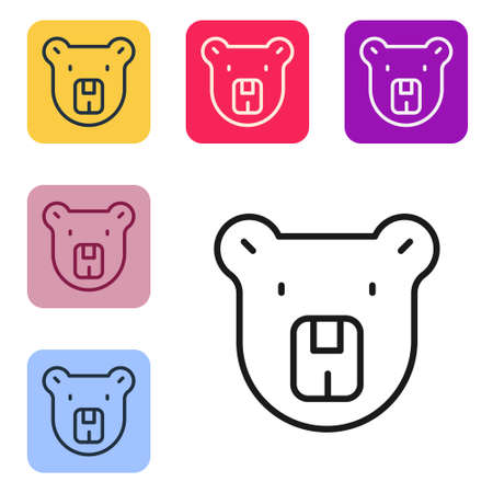 Black line Bear head icon isolated on white background. Set icons in color square buttons. Vector 일러스트