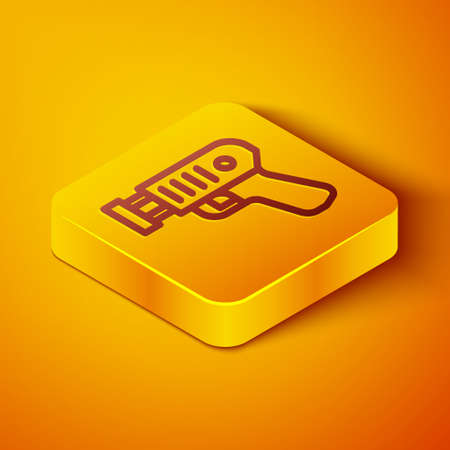Isometric line Police electric shocker icon isolated on orange background. Shocker for protection. Taser is an electric weapon. Yellow square button. Vector
