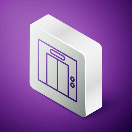 Isometric line Lift icon isolated on purple background. Elevator symbol. Silver square button. Vector Ilustrace