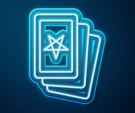 Glowing neon line Three tarot cards icon isolated on blue background. Magic occult set of tarot cards. Vector Vecteurs