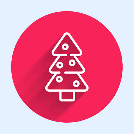 White line Christmas tree with decorations icon isolated with long shadow. Merry Christmas and Happy New Year. Red circle button. Vector Ilustrace