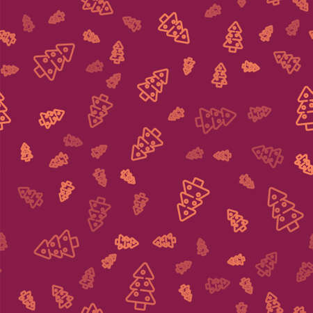 Brown line Christmas tree with decorations icon isolated seamless pattern on red background. Merry Christmas and Happy New Year. Vector