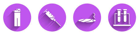 Set Lighter, Syringe, Cigar with smoke and Test tube and flask icon with long shadow. Vector