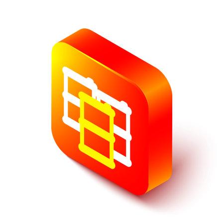 Isometric line Barrel oil icon isolated on white background. Orange square button. Vector Illustration Çizim
