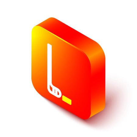Isometric line Ice hockey stick and puck icon isolated on white background. Orange square button. Vector Illustration Çizim