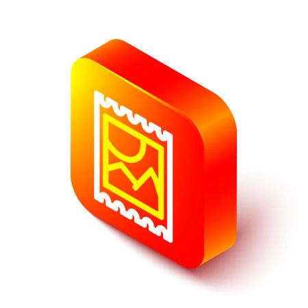 Isometric line LSD acid mark icon isolated on white background. Acid narcotic. Postmark. Postage stamp. Health danger. Orange square button. Vector Illustration