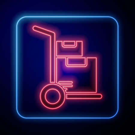 Glowing neon Hand truck and boxes icon isolated on blue background. Dolly symbol. Vector Illustration