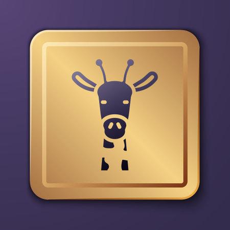 Purple Giraffe head icon isolated on purple background. Animal symbol. Gold square button. Vector