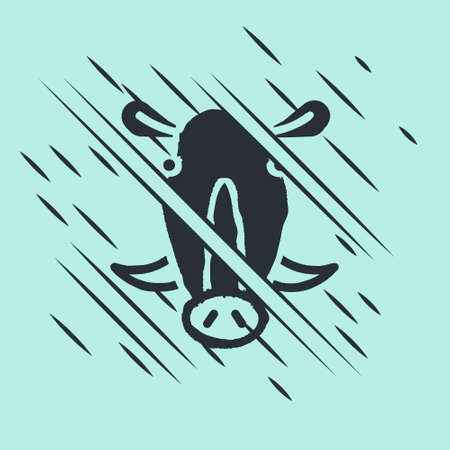 Black Wild boar head icon isolated on green background. Animal symbol. Glitch style. Vector