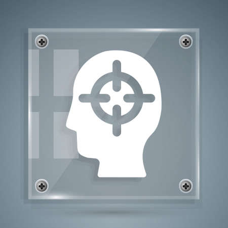White Finding a problem in psychology icon isolated on grey background. Square glass panels. Vector