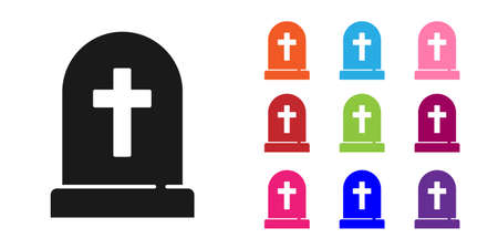 Black Tombstone with cross icon isolated on white background. Grave icon. Happy Halloween party. Set icons colorful. Vector