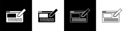Set UI or UX design icon isolated on black and white background. Vector