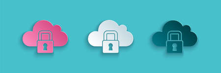 Paper cut Cloud computing lock icon isolated on blue background. Security, safety, protection concept. Protection of personal data. Paper art style. Vector