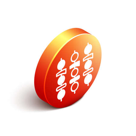 Isometric Grilled shish kebab on skewer stick icon isolated on white background. Meat kebab on skewer stick. Picnic with grilled meat. Orange circle button. Vector