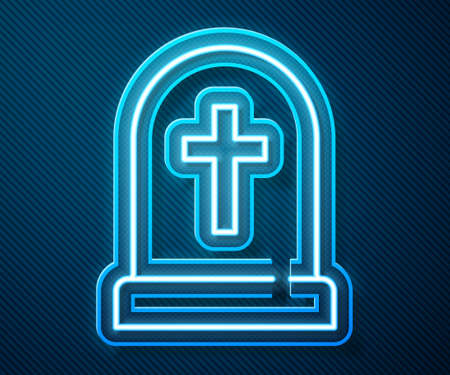 Glowing neon line Tombstone with cross icon isolated on blue background. Grave icon. Happy Halloween party. Vector  イラスト・ベクター素材