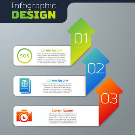 Set Location with SOS, Passport and Photo camera. Business infographic template. Vector