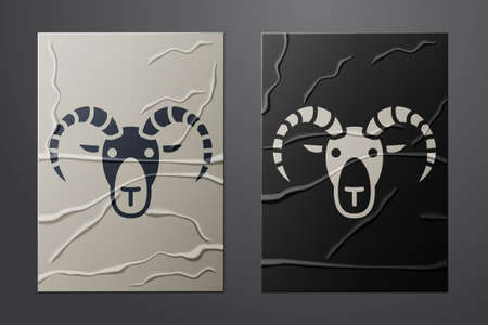 White Head of goat or ram icon isolated on crumpled paper background. Mountain sheep. Animal symbol. Paper art style. Vector