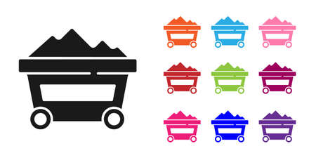 Black Coal mine trolley icon isolated on white background. Factory coal mine trolley. Set icons colorful. Vector