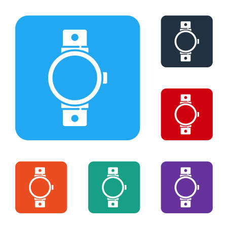 White Smartwatch icon isolated on white background. Set icons in color square buttons. Vector