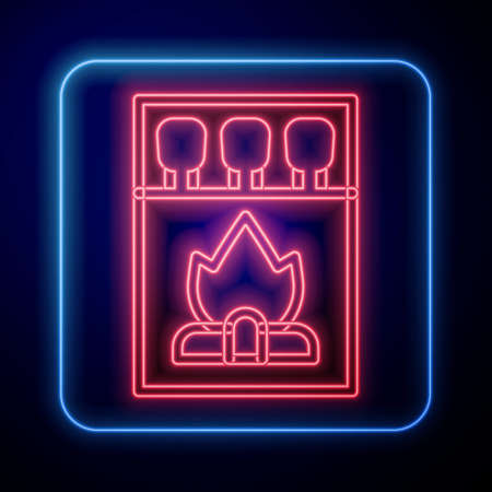 Glowing neon Open matchbox and matches icon isolated on blue background. Vector