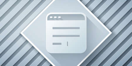 Paper cut Browser window icon isolated on grey background. Paper art style. Vector