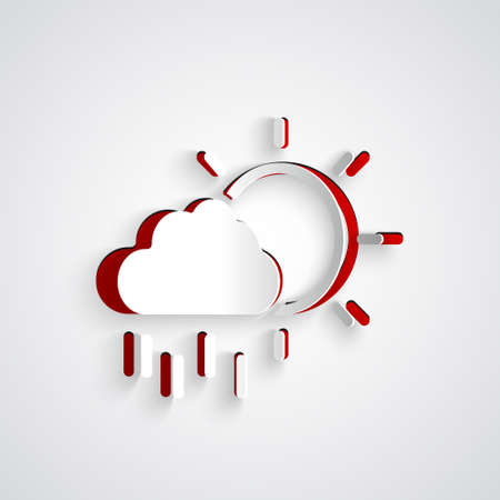 Paper cut Cloud with rain and sun icon isolated on grey background. Rain cloud precipitation with rain drops. Paper art style. Vector