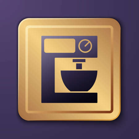 Purple Electric mixer icon isolated on purple background. Kitchen blender. Gold square button. Vector Vecteurs